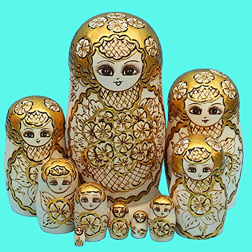 LK King&Light - 10pcs Golden of Plum Pattern Russian Nesting Dolls Matryoshka Wooden Toys by LK (Image #1)