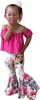 Deloito Baby Girls Clothing Sets, 2Pcs Toddler Kids Baby Girl Clothes Set Summer Cute Solid Off Shoulder T-Shirt Tops+Flora Pants Outfits Set for 0-4 Years Old