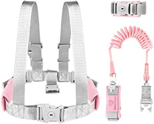 Simpeak 3 in 1 Toddler Safety Harnesses, Safety Walking Harness+Safety Vest, 1.5M Adjustable Toddlers Wrist Leash Kid Walking Leash with Safety Lock - Pink