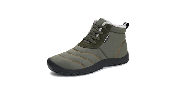 b3837eb966 1994Fashion Mens Waterproof Snow Boots Anti Slip Lace-Up Ankles Sneakers  Walking Winter Shoes-Khaki-39