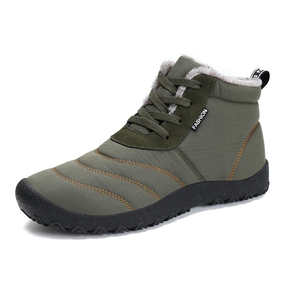 1994Fashion Men's Fur Lined Waterproof Snow Boots Anti Slip Lace Up Ankles Winter Shoes-Khaki-46