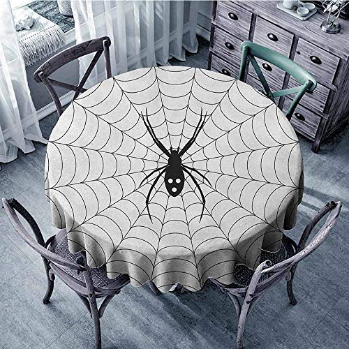 ScottDecor Beach Round Tablecloth Jacquard Tablecloth Spider Web,Poisonous Bug Venom Thread Circular Cobweb Arachnid Cartoon Halloween Icon, Black White Diameter 60