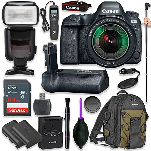 Canon EOS 6D Mark II DSLR with EF 24-105mm f/3.5-5.6 is STM Lens with Pro Camera Battery Grip, Professional TTL Flash, Deluxe Backpack 200EG, Spare LP-E6 Battery (17 Items)