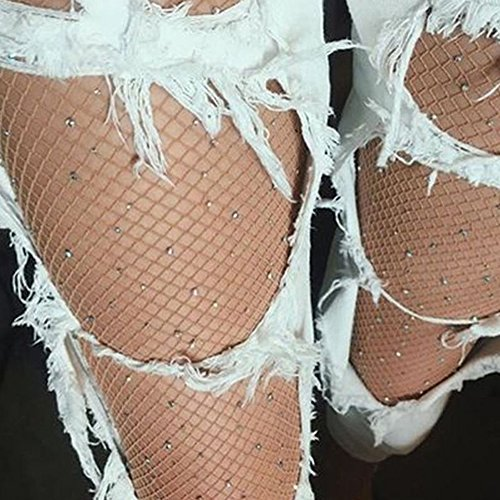 105991e1afb Per Sexy Fishnet Stockings With Rhinestones Sparkle Sequin Mesh Long Socks  Leggings Thigh-Highs Tights