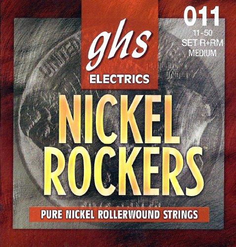 Pure Nickel Electric Strings - GHS Strings R+RM Nickel Rockers, Rollerwound Pure Nickel Electric Guitar Strings, Medium (.011-.050)