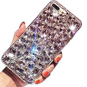 "For iPhone 7 Plus Case,For iPhone 8 Plus Case,SKYXD 3D Luxury Handmade Glitter Rhinestone Bling Full Crystal Diamond Jewelry Back Case Cover for iPhone 7 Plus/8 Plus 5.5""(Pink & White)"