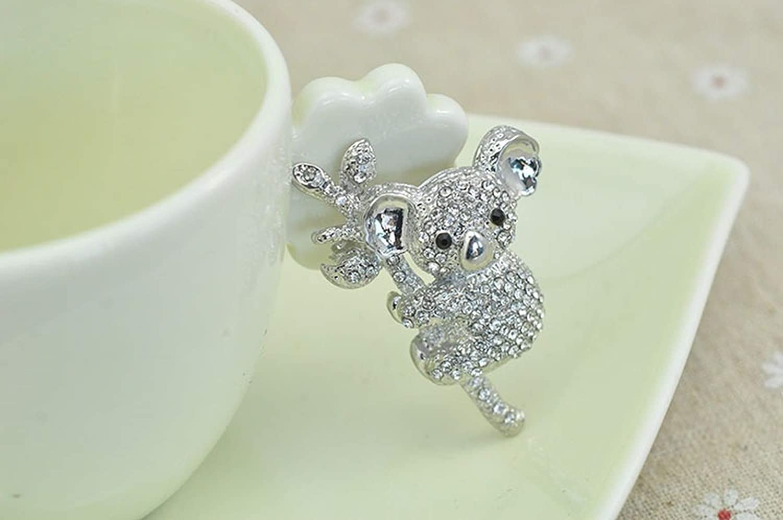 Powerwin Cute Crystal Rhinestone Koala Bear Brooch Pin Austrial National Treasure Accessory Fashion Jewelry Animal Gift