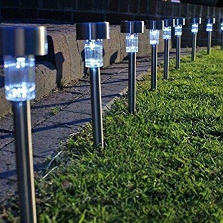 Inditradition Solar Powered Garden Pathways LED Light   Solar Garden Light (Stainless Steel Body, White)   Pack of 10