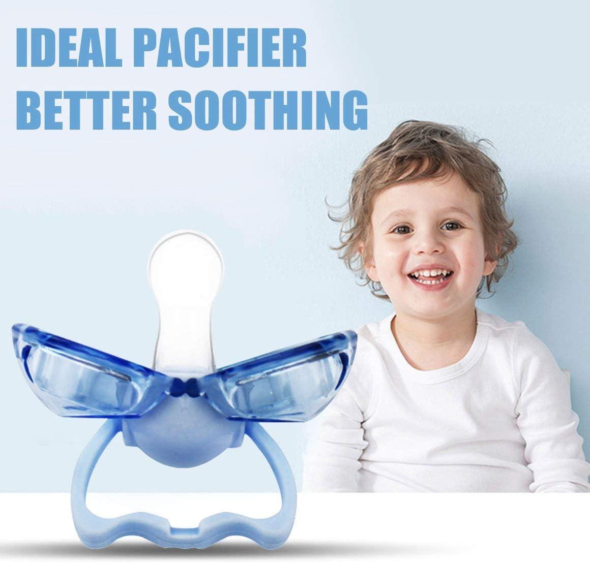 Funnyrunstore Silicona de grado alimenticio Chupete para beb/és Forma de boca de labio Pez/ón de chupete para beb/és peque/ños con cubierta de polvo cerrada autom/áticamente Azul
