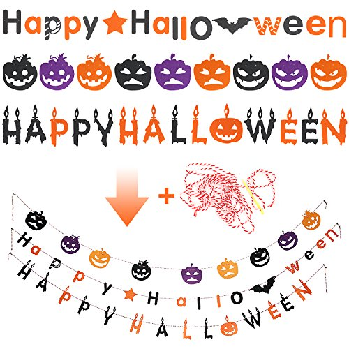 Halloween Decoration Hanging Sign, Letters for Door, Wall. Made with Felt Fabric Tough and Durable for Indoor and Outdoor. 3 Different Styles. Perfect for Kid's Halloween Party. (3PC) (Door Decorations For Halloween Classroom)