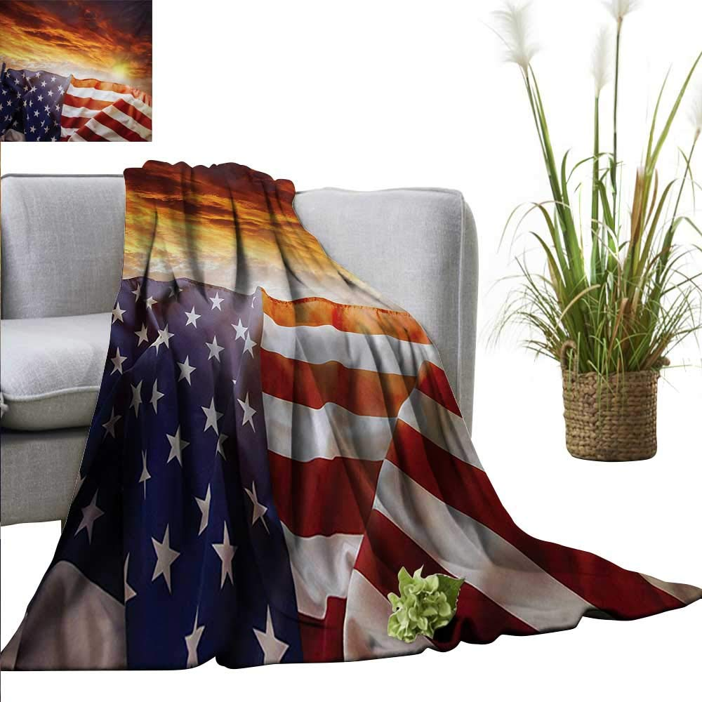 """PearlRolan Throw Blanket American Flag,Flag in Front of Sunset Sky with Horizon America Union Idyllic Photograph,Multicolor Sofa Super Soft Plush Fuzzy Microfiber Throw Reversible Comfy 60""""x70"""""""