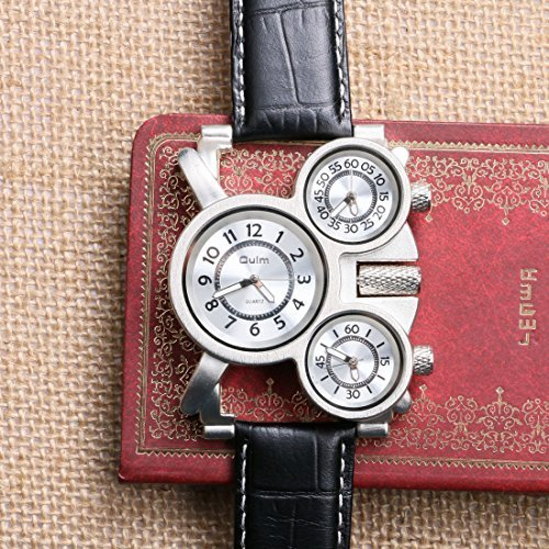 Oulm Three Time Display Quartz Mens Military Army Sport Wrist Watch White