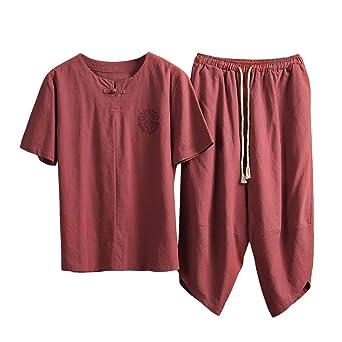 Traje de chándal corto de manga corta de lino y algodón con cuello ...