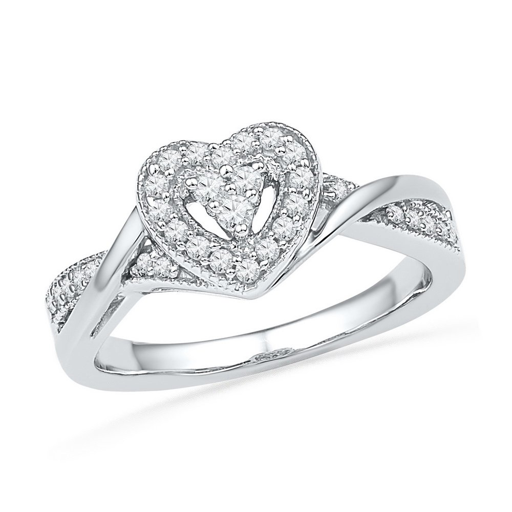 10kt White Gold Womens Round Diamond Heart Love Ring 1/4 Cttw (I2-I3 clarity; I-J color)