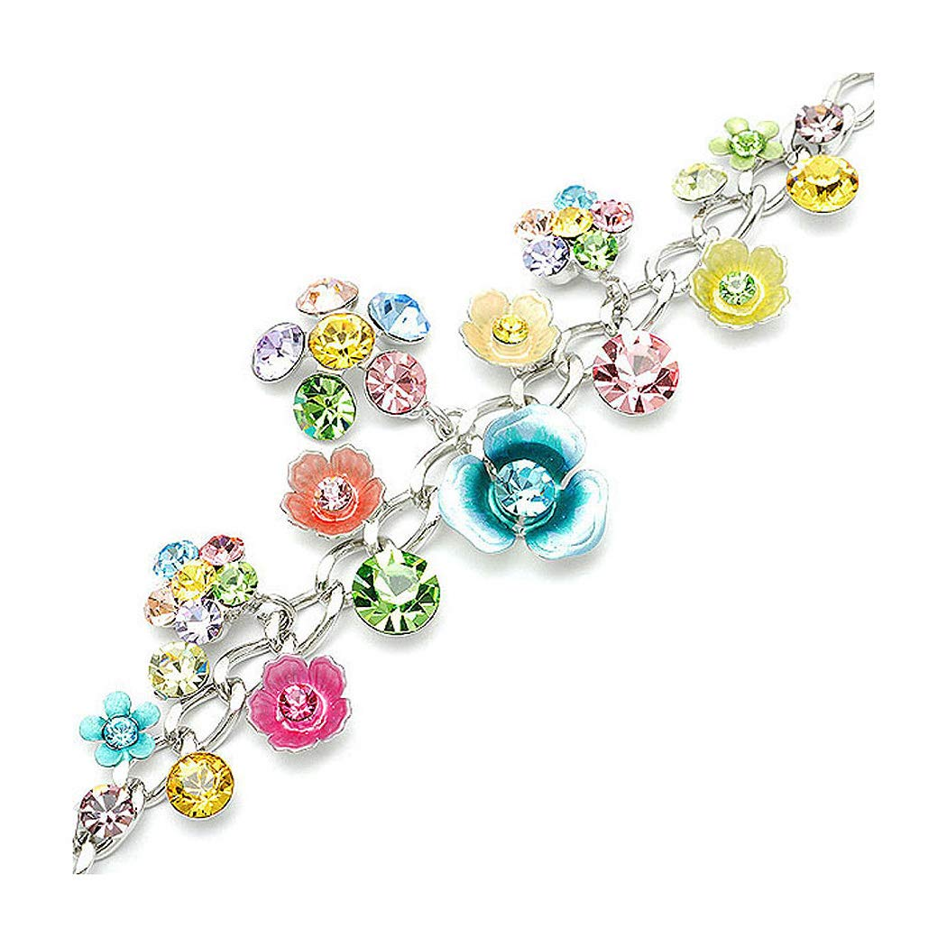 Glamorousky Flower Bracelet with Multi-Colour Austrian Element Crystals and Flower Charms (1127)