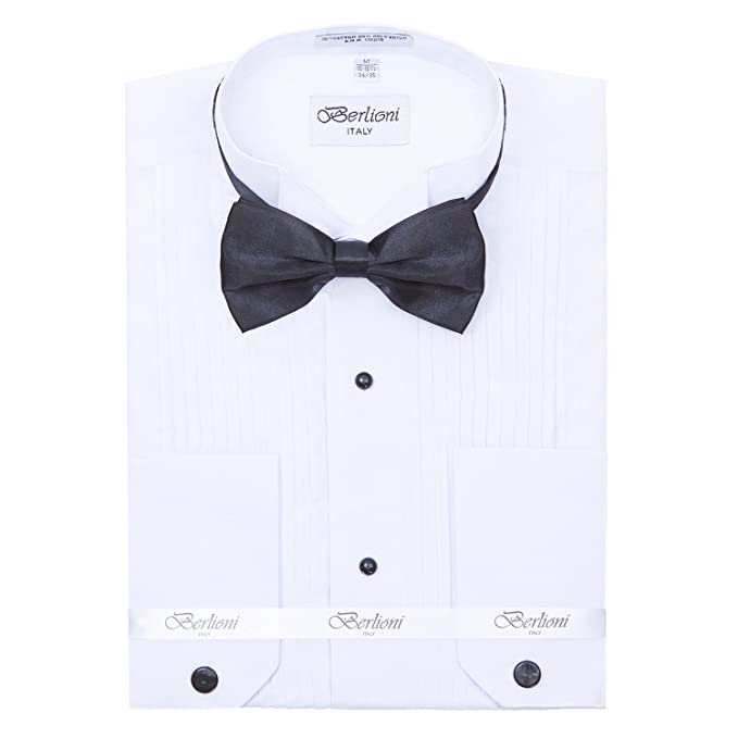 Berlioni Mens Wing Collar Tuxedo Shirt and Bow Tie at Amazon Mens Clothing store: