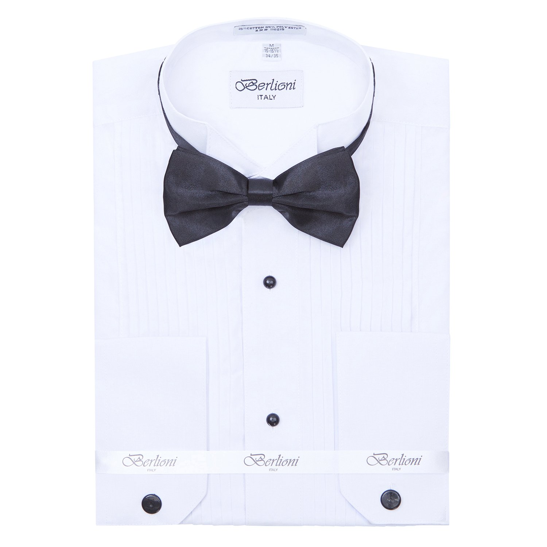 Men's 1'' Pleat Wing Collar Tuxedo Shirt with Black Bowtie Medium 32/33