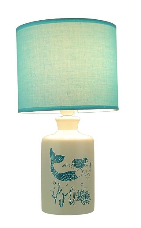 Amazon.com: Lámpara de mesa de cerámica blanca y azul con ...