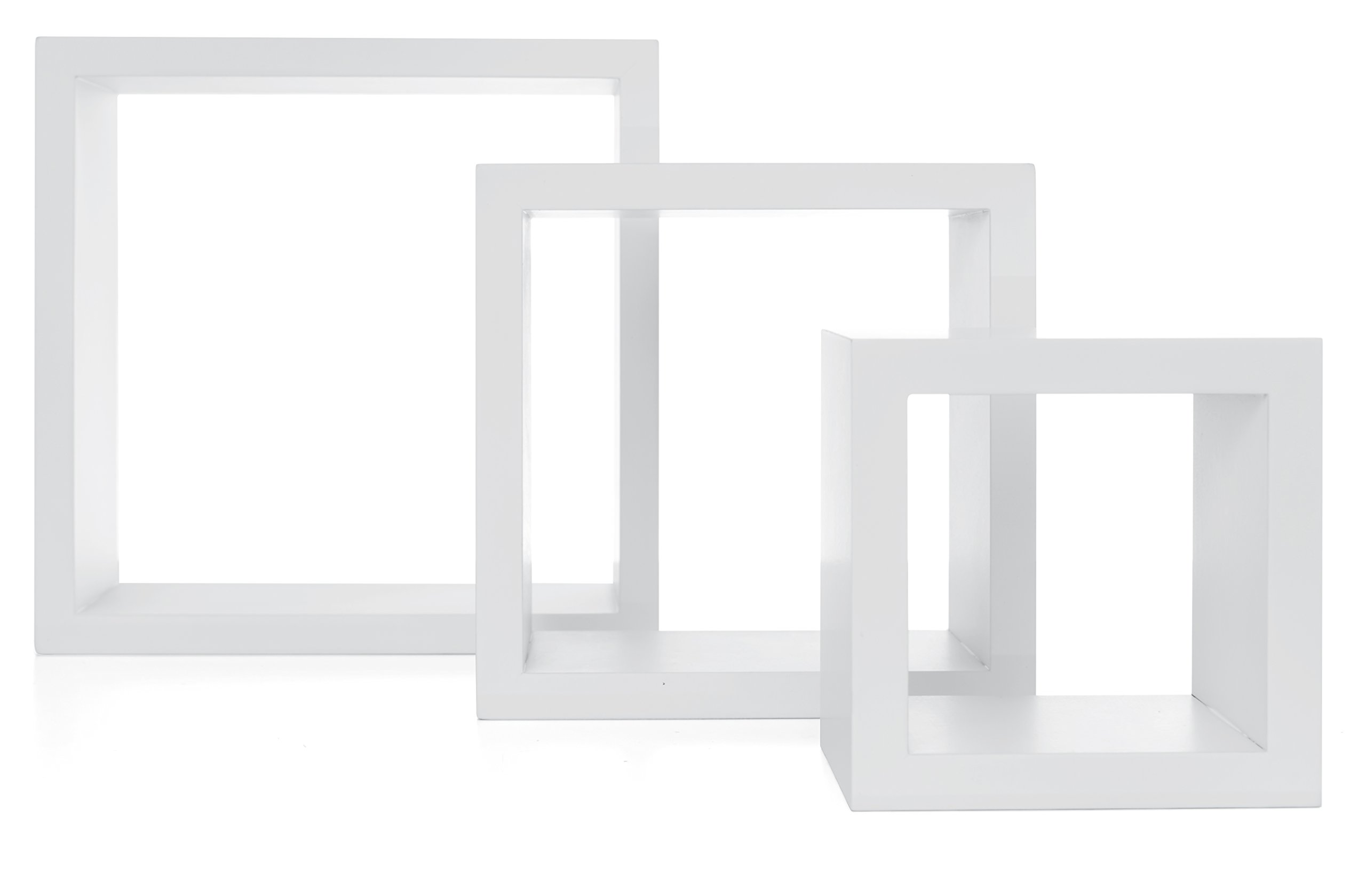 Nexxt Cubbi Contemporary Floating Wall Shelves 5 by 5 inch, 7 by 7 inch 9 by 9 inch White Set of 3 by nexxt