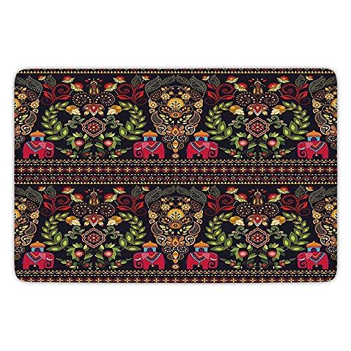 (Bathroom Bath Rug Kitchen Floor Mat Carpet,Eastern,Traditional Pattern Colorful Paisley Border Floral Details Elephants Tribal Artwork Decorative,Multicolor,Flannel Microfiber Non-Slip Soft Absorbent)