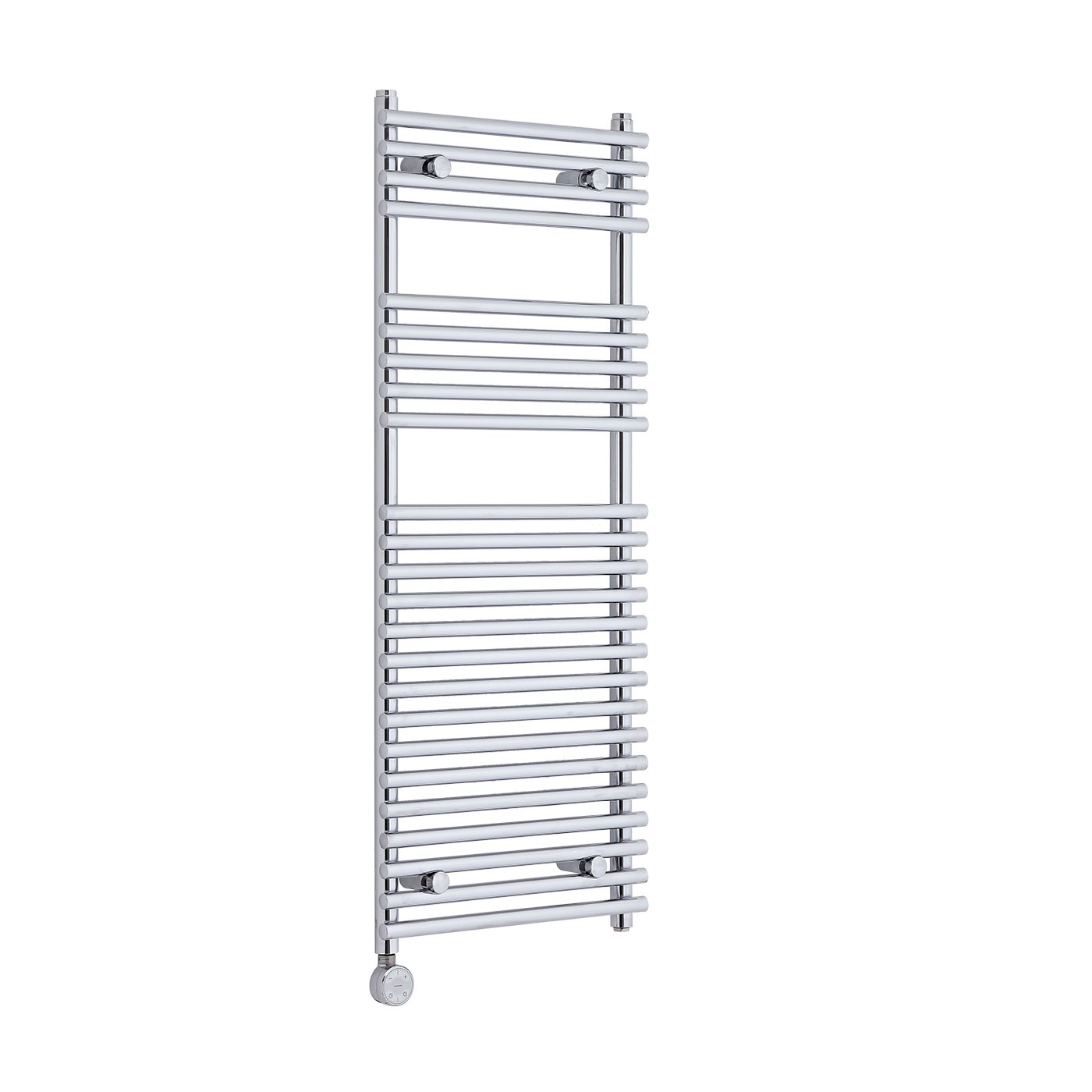 KUDOX Chrome 1150mm x 450mm Electric Flat Bar on Bar Heated Towel Rail - 383 W Watts, 1306 BTU, Mild Steel Construction, Tested to BS EN 442 Standards, ISO9001:2008 Registered Manufacturer, CE Marked
