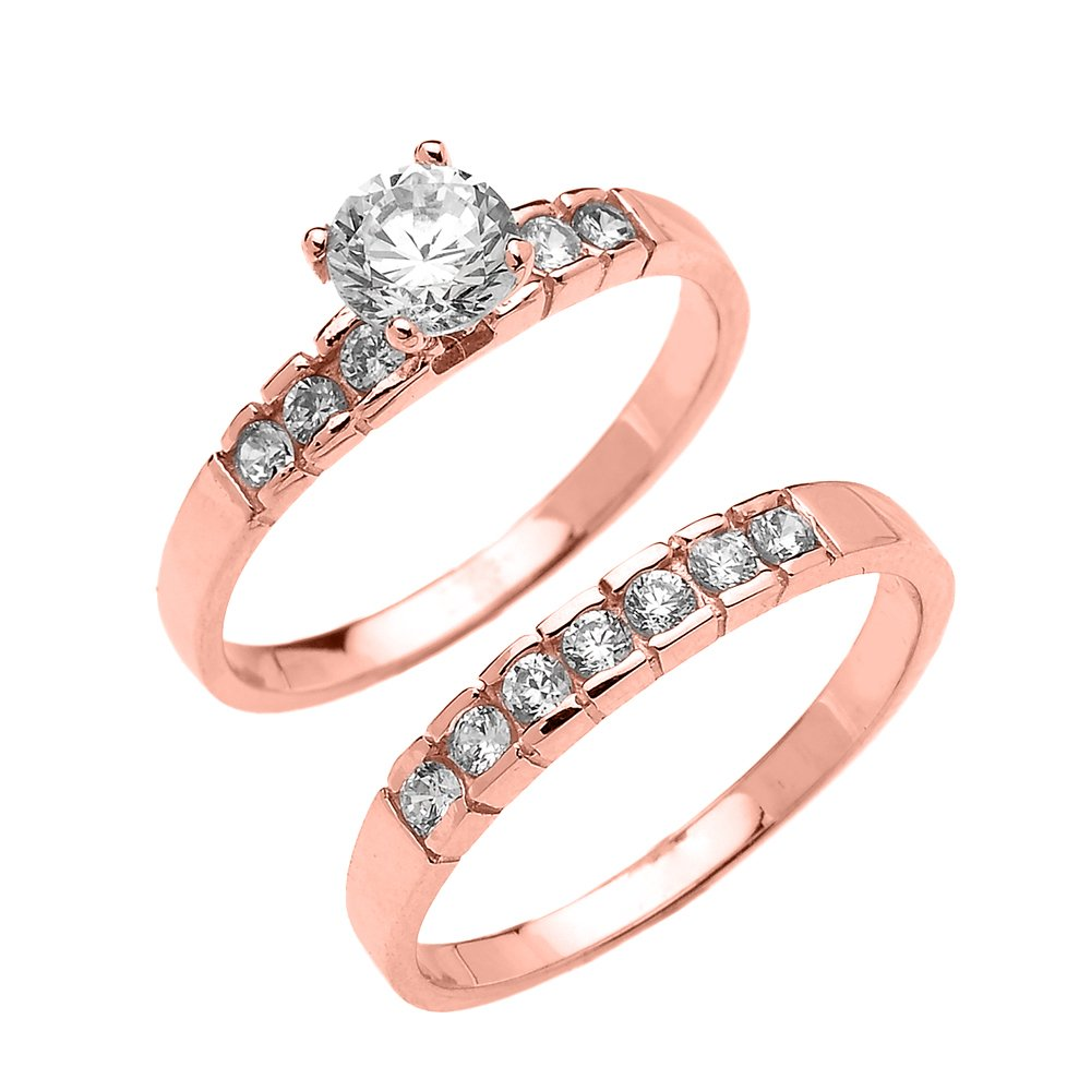 10k Rose Gold Channel Set Round 1.5 Carat Total Weight CZ Engagement Wedding Ring Set (Size 4.75) by CZ Engagement Rings (Image #1)