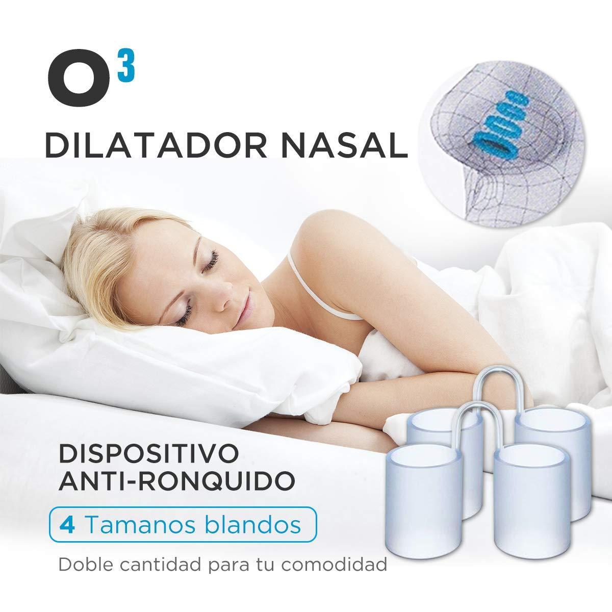O³ Dilatador Nasal - 8 Antironquidos Nasal De Silicona Blanda - 100% sin BPA - Remedio Contra El Ronquido - Para Mejorar La Apnea Del Sueño y La Respiración ...
