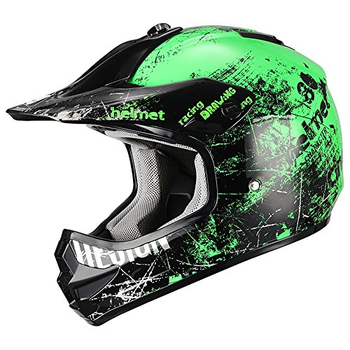 Triangle Motorcycle Helmets Youth Off Road Sport ATV Motocross Dirt Bike [DOT] Green (Small)