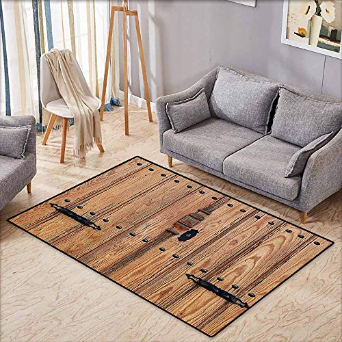 Door Rug Increase Rustic Wooden Door with Iron Style Padlock Gate Exit Enclosed Space of Building Picture Pale Brown Breathability W6'8 xL4'9