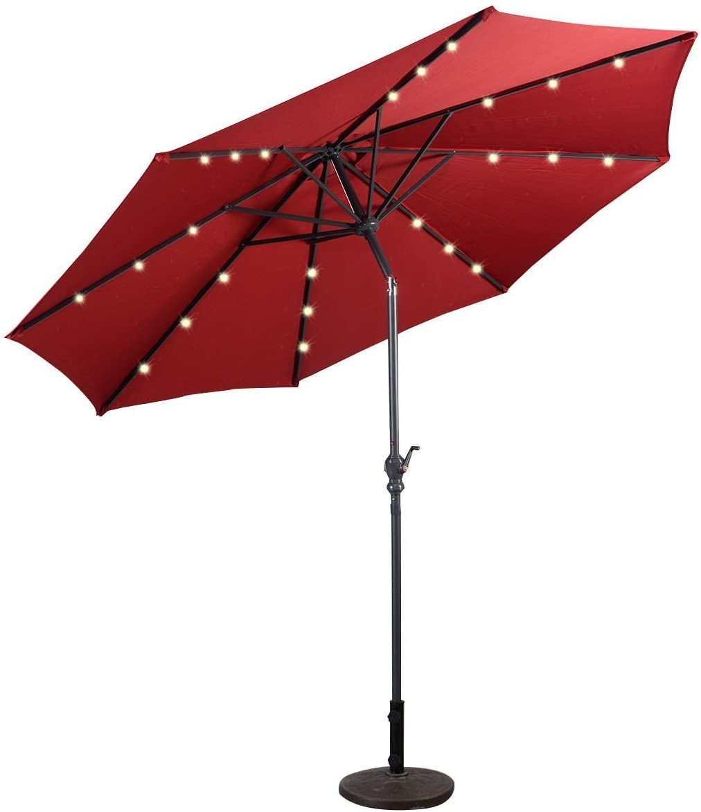Patio Furniture Umbrella 10' Solar LED Steel Tilt With Crank Color RED