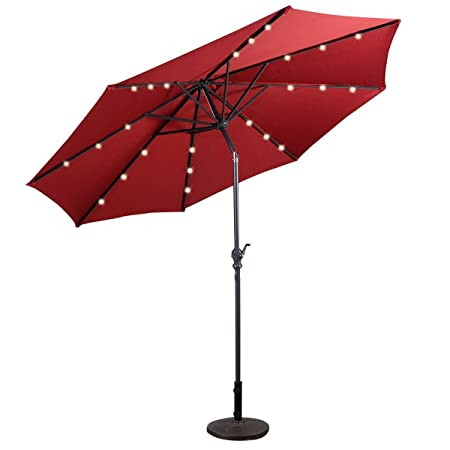 Patio Furniture Umbrella 10 Solar LED Steel Tilt With Crank Color RED