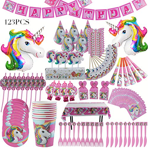 Unicorn Party Supplies PINK 123 Piece Pack Unicorn Sets With 2 Foil Balloons Decoration For Birthday/Baby Shower/Party / Celebration by Baby-Touch