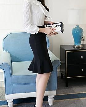 Falda Lapiz Cortas El/ástico Plisado Alta Cintura Paquete Cadera Faldas con Volantes