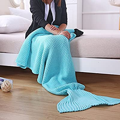 Mermaid adultes queue de poisson queue de sirène enfant Couverture tricot laine à tricoter des couvertures anti-sac de couchage et kick, 90*50cm, bleu clair