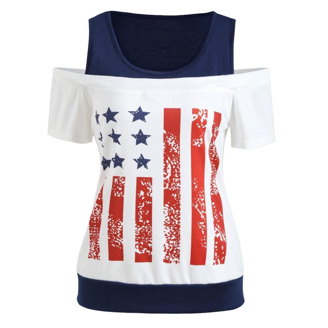 21b46a9f9ef4 Amazon.com: Gyoume American Flag Tops,Womens Short Sleeve Flag Printed Shirt  Lady Patriotic T-Shirt (XL, White): Clothing