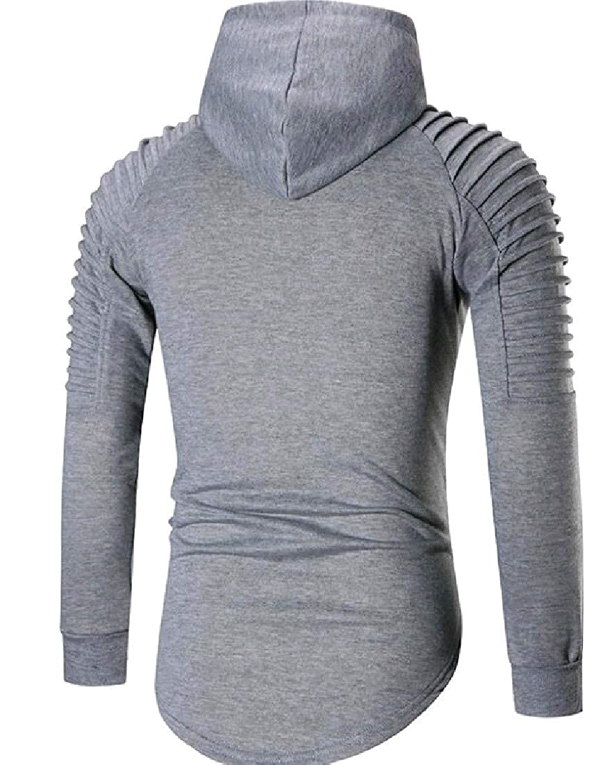 Fieer Mens Plus Size Hooded Frill Striped Top Blouse Sweatshirt