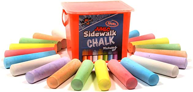 Chalk City Sidewalk Chalk, 7 Different Colors, Jumbo Chalk, Non-Toxic, Washable, Art Set, 20 Count