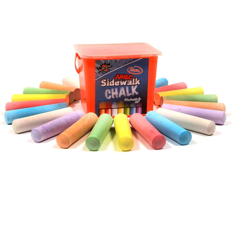 Chalk City Sidewalk Chalk 20 Count 7 Different Colors Jumbo Chalk Non-Toxic Washable Art Set