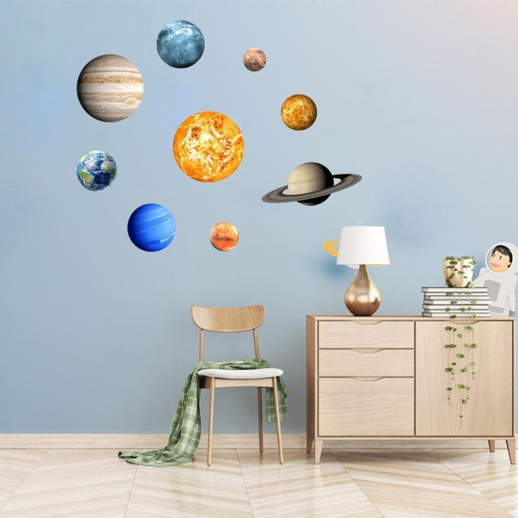 Snowfoller 9PCS Planets Lunar Luminous Wall Stickers Round PVC Stickers for Kids Rooms Ceiling Wall Home Decor