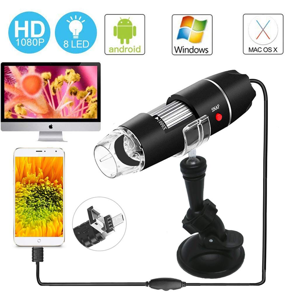 USB Microscope – Digital Magnification Endoscope 40 to 1000x Mini Camera with OTG Adapter Suction Cup Stand 8 Adjustable LEDs Compatible with Mac Window 7 8 10 Android Linux