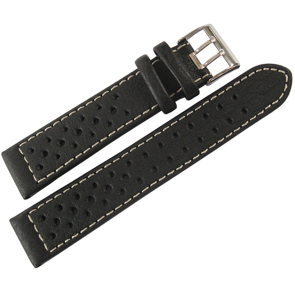 Di-Modell Rallye 18mm Black Contrast-Stitch Leather Watch Strap by Di-Modell