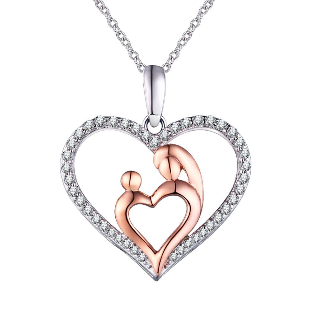 'I Love You Mom' Sterling Silver Heart Pendant Necklace,, Fine Jewelry for Women,Birthday Anniversary Present for Wife, Aunt, Grandma, Mom