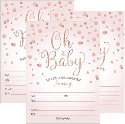 Amazon Com 25 Blush Rose Gold Girl Oh Baby Shower Invitations Cute Princess Printed Fill Or Write In Blank Invite Printable Shabby Chic Unique Custom Vintage Coed Twin Sprinkle Party Card Stock Paper