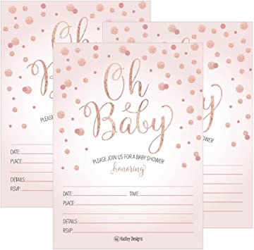 25 Blush Rose Gold Girl Oh Baby Shower Invitations Cute Princess Printed Fill Or Write In Blank Invite Printable Shabby Chic Unique Custom Vintage