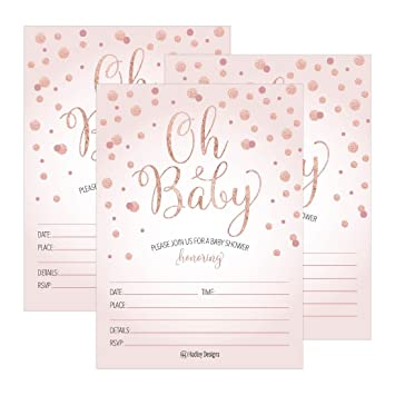 Amazon 25 Blush Rose Gold Girl Oh Baby Shower Invitations Cute