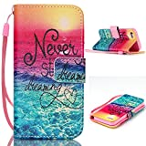 "iphone 5s Wallet Case,Topforcity® ""Never stop dreaming"" pattern Wallet Beautiful Style Magnetic PU Leather Stand Flip Case With rope Protective Cover For iphone 5s"