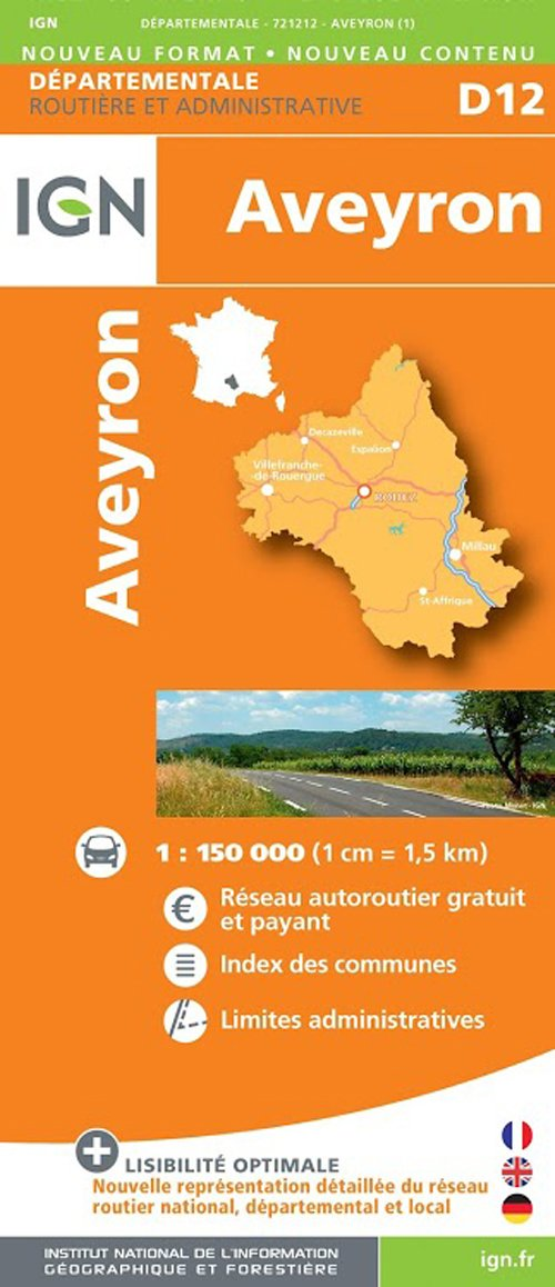 D12 AVEYRON 1/150.000 Carte – Carte pliée, 3 avril 2014 IGN 2758531852 France Gazetteers & Maps)