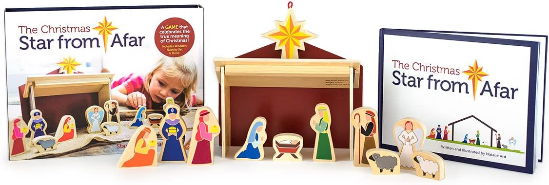 16 pieces Child 3+ Wooden Nativity Set /& Book The Christmas Star From Afar