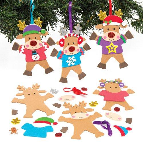 Kits de Décoration Rennes de Noël portant des Pulls que les Enfants pourront Confectionner, Décorer et Suspendre au Sapin (Lot de 6)