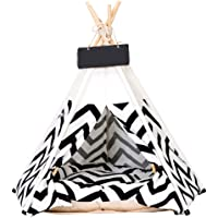 Apostasi Pets Teepee Dogs Cats Rabbits Bed, Modern Pet Teepee Tent House with Floor,Cotton Canvas Portable Striped Pet Tents Houses with Cushions Indoor or Outdoor Portable House with Floor for Pets
